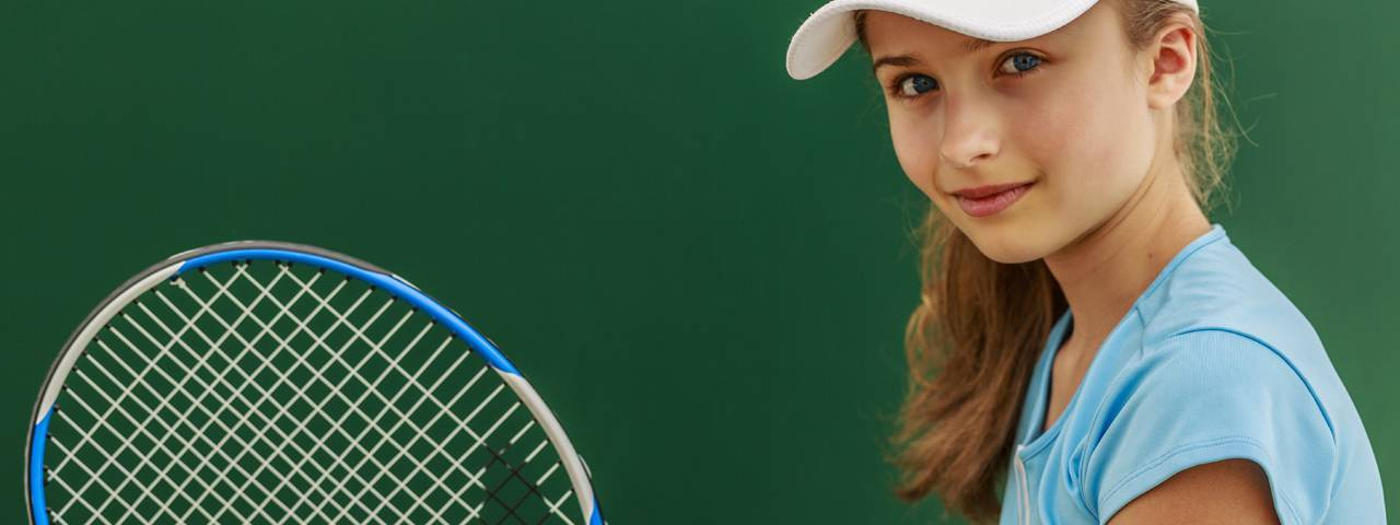 Young Girl Tennis Racket 1280x480
